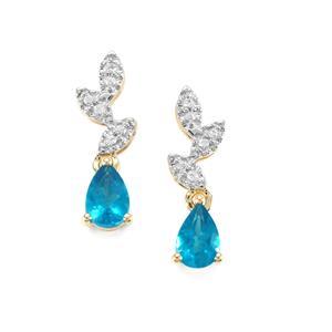 Neon Apatite & White Zircon 10K Gold Earrings ATGW 0.88cts