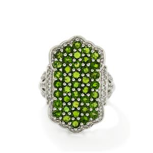 Chrome Diopside & White Topaz Sterling Silver Ring ATGW 3.47cts