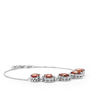 Mandarin Garnet Bracelet with Diamond in 18K White Gold 8.96cts