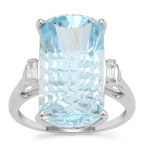Lehrer Matrix Cut Sky Blue Topaz Ring with White Zircon in 9K White Gold 14.18cts