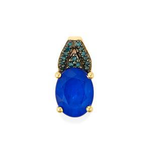 Santorinite™ Blue Spinel & Blue Diamond 10K Gold Pendant ATGW 2.16cts