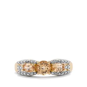 Ouro Preto Imperial Topaz & Diamond 10K Gold Ring ATGW 1.08cts