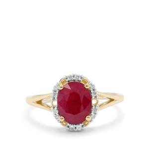 Burmese Ruby Ring with White Zircon in 9K Gold 2.25cts