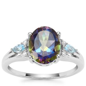 Mystic Blue Topaz, Swiss Blue Topaz Ring with White Zircon in Sterling Silver 3.28cts