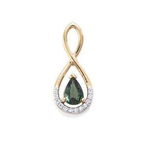 Nigerian Blue Sapphire Pendant with Diamond in 18K Gold 1.10cts