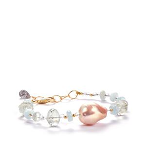 Baroque Cultured Pearl, Prasiolite, Aquamarine, Optic Quartz Sarah Bennett Bracelet with Tourmalinated Quartz in 14k Gold Tone Sterling Silver 40.15cts