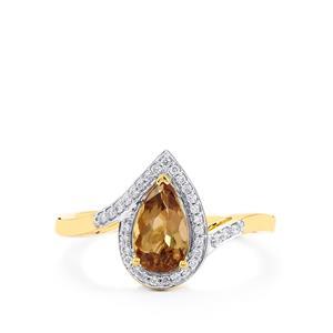 Axinite & Diamond 18K Gold Tomas Rae Ring MTGW 1.30cts