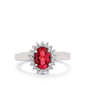 Mystic Pink Topaz Ring with White Topaz in Sterling Silver 1.72cts
