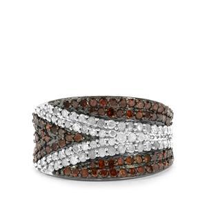 1.50ct Cognac & White Diamond Sterling Silver Ring