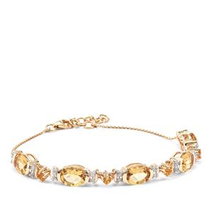Xia Heliodor, Diamantina Citrine & White Zircon 9K Gold Bracelet ATGW 5.91cts