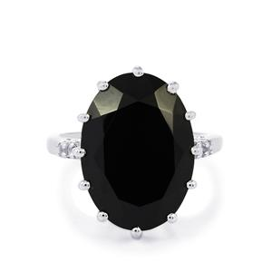 Black Spinel & White Topaz Sterling Silver Ring ATGW 14.66cts