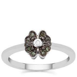Green Diamond Ring with White Diamond in Sterling Silver 0.07ct
