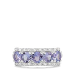 Tanzanite Ring with White Zircon in Sterling Silver 1.91cts