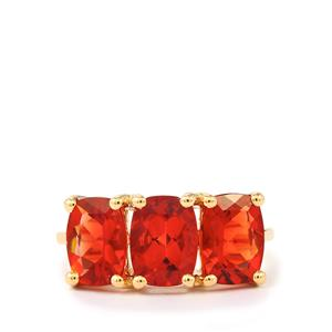3.16ct Tarocco Red Andesine 9K Gold Ring