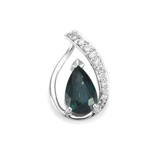 Nigerian Blue Sapphire Pendant with Diamond in 18K White Gold 1.12cts