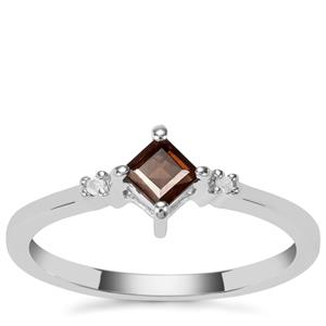 Smokey Quartz Ring with Diamond in Sterling Silver 0.24cts