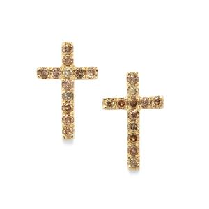 1/3ct Champagne Diamond 10K Gold Earrings