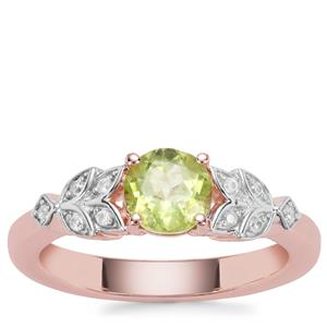 Red Dragon Peridot Ring with White Zircon in Rose Gold Plated Sterling Silver 1.06cts