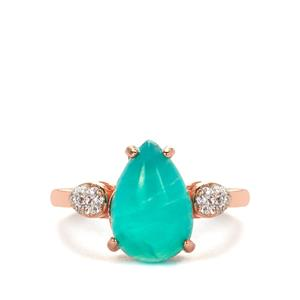 Amazonite Ring with White Topaz in Rose Gold Tone Sterling Silver 3.10cts