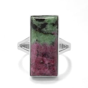 14.90ct Ruby-Zoisite Sterling Silver Indus Valley Ring