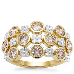 Champagne Diamond Ring with White Diamond in 9K Gold 2.19cts