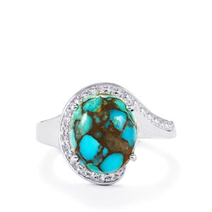 Egyptian Turquoise Ring with White Topaz in Sterling Silver 4.94cts