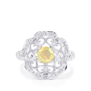 Ethiopian Opal & White Zircon Sterling Silver Ring ATGW 0.85cts