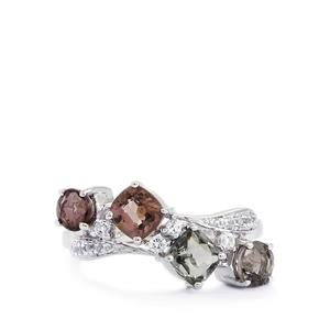Burmese Multi-Colour Spinel & White Topaz Sterling Silver Ring ATGW 2.60cts