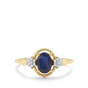 Kanchanaburi Sapphire & White Zircon 9K Gold Ring ATGW 1.14cts