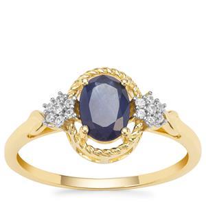 Kanchanaburi Sapphire Ring with White Zircon in 9K Gold 1.14cts