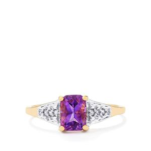 Moroccan Amethyst & White Zircon 9K Gold Ring ATGW 0.97cts