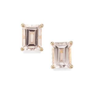 Alto Ligonha Morganite & White Zircon 10K Gold Earrings ATGW 2.90cts