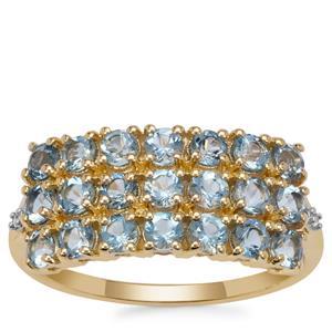 Santa Maria Aquamarine Ring with White Zircon in 9K Gold 1.30cts
