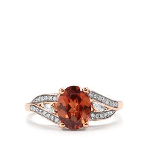 Zanzibar Sunburst Zircon Ring with Diamond in 18K Rose Gold 2.23cts