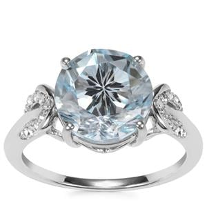 5.31ct Sky Blue & White Topaz Sterling Silver Cupid Ring