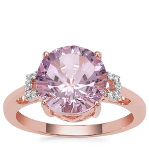 Rose De France Amethyst Ring with White Zircon in Rose Gold Plated Sterling Silver 3.57cts