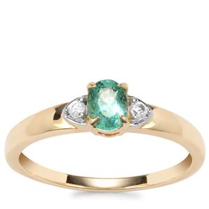 Zambian Emerald Ring with White Zircon in 9K Gold 0.45cts