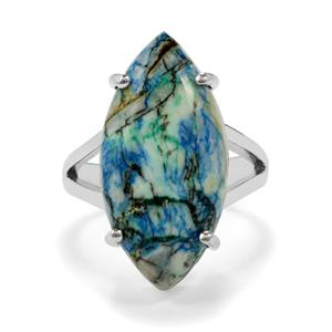 Azurite Diopside Ring in Sterling Silver 15cts