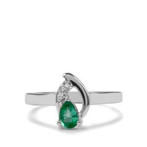 Zambian Emerald & Diamond Sterling Silver Ring ATGW 0.32cts