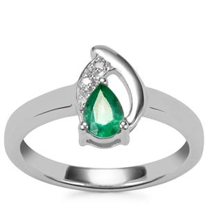 Zambian Emerald Ring with Diamond in Sterling Silver 0.32cts