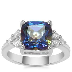 Mystic Blue Topaz Ring with White Zircon in Sterling Silver 3.92cts