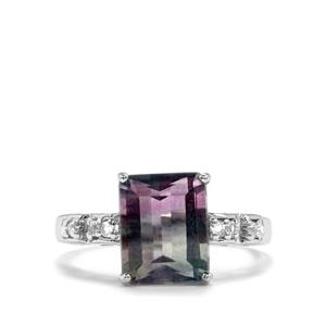 Zebra Fluorite Ring with White Topaz in Sterling Silver 4.03cts