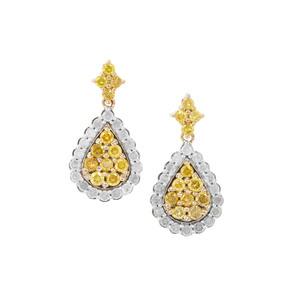 Yellow Diamond Earrings with White Diamond in 9K Gold 1ct