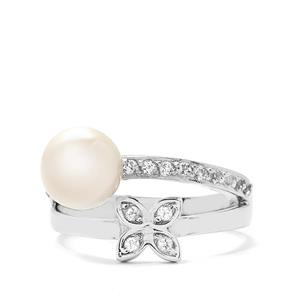 Freshwater Cultured Pearl and White Topaz Sterling Silver Ring