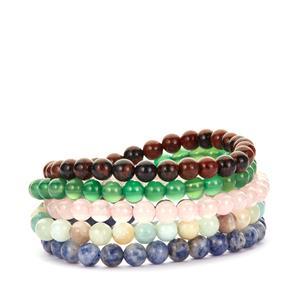 Multi-Gemstone Set of five Elastic Bracelet 260.5cts