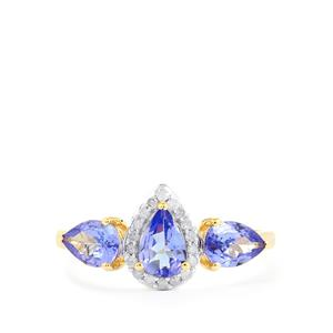 AA Tanzanite Ring with Diamond in 10k Gold 1.31cts