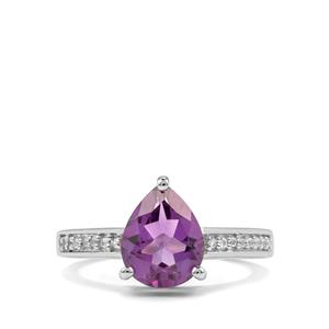 Zambian Amethyst Ring with White Topaz in Sterling Silver 2.14cts