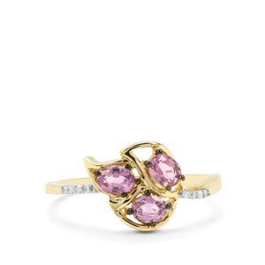 Sakaraha Pink Sapphire & Diamond 9K Gold Ring ATGW 0.81ct