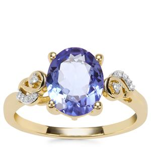 AA Tanzanite Ring with Diamond in 9K Gold 2.29cts