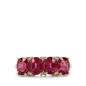 Comeria Garnet Ring with Diamond in 10K Gold 3.21cts